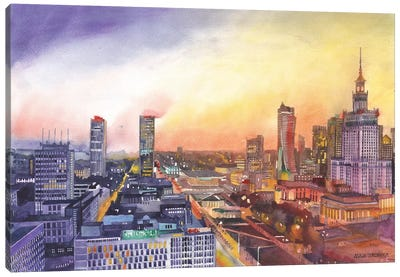 Sunset In Warsaw Canvas Art Print
