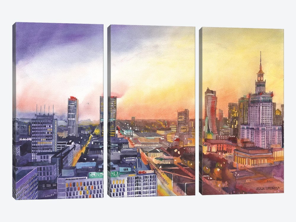 Sunset In Warsaw 3-piece Art Print