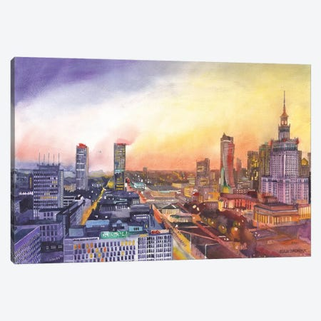 Sunset In Warsaw Canvas Print #MWR44} by Maja Wronska Art Print