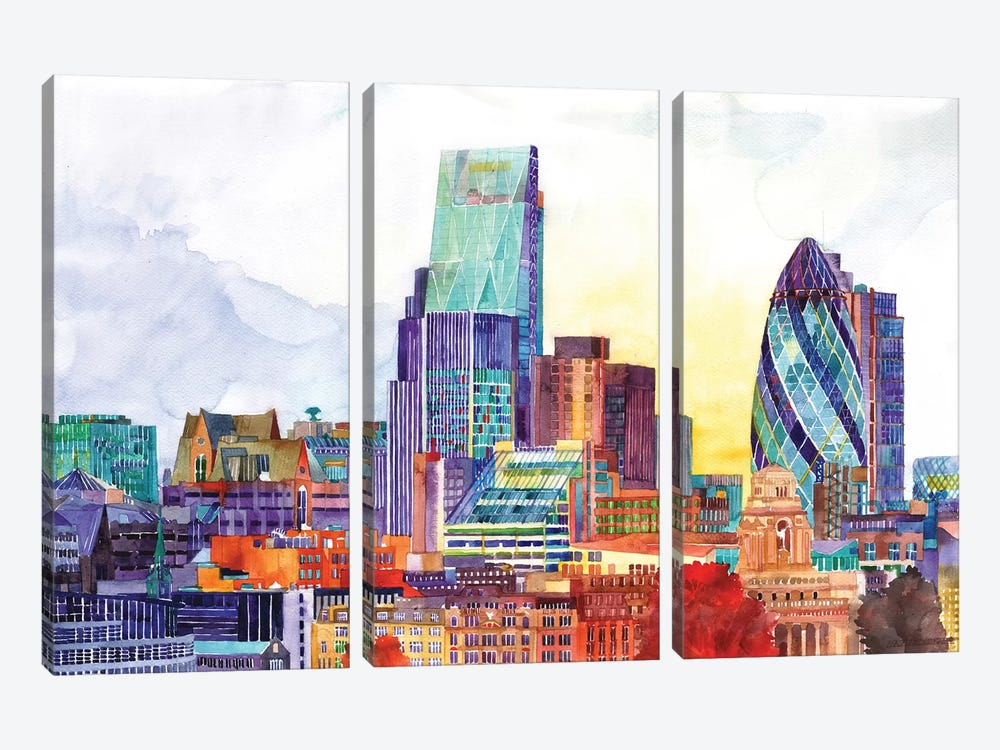 Sunshine In London by Maja Wronska 3-piece Canvas Art