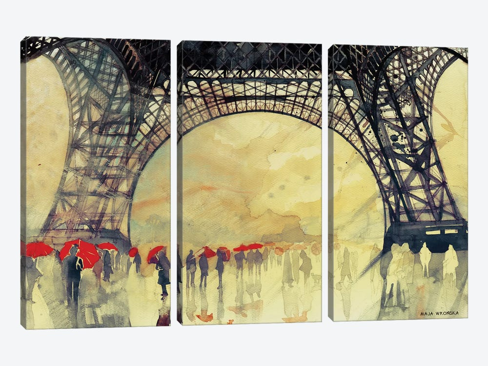 Winter In Paris by Maja Wronska 3-piece Canvas Art