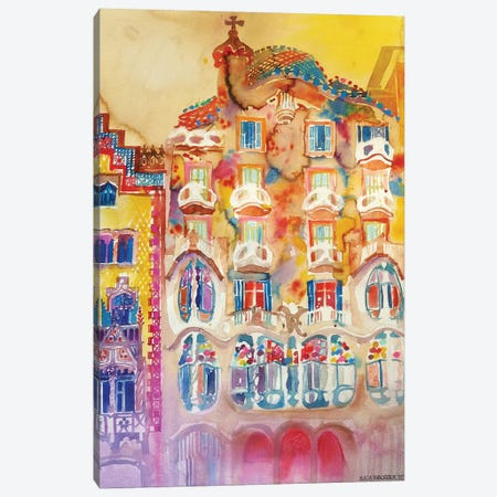 Casa Batlló Canvas Print #MWR7} by Maja Wronska Art Print