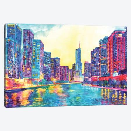 Chicago River Canvas Print #MWR8} by Maja Wronska Canvas Wall Art