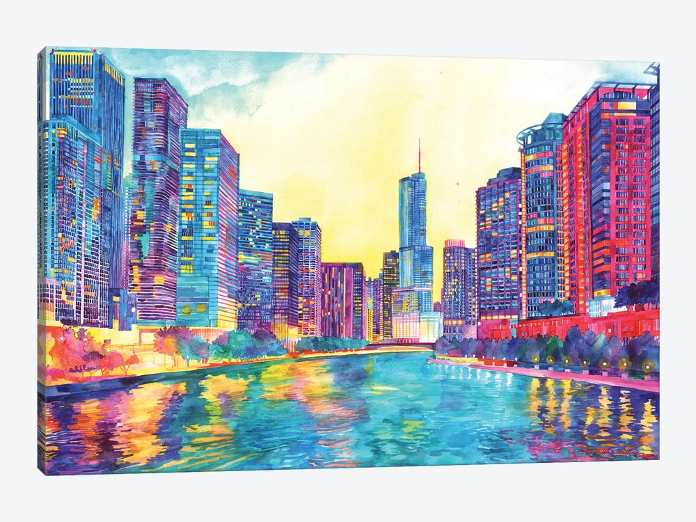 Chicago River by Maja Wronska 1-piece Canvas Artwork