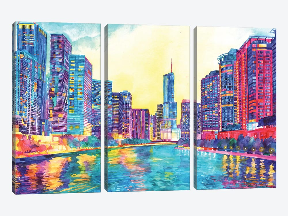 Chicago River by Maja Wronska 3-piece Canvas Artwork