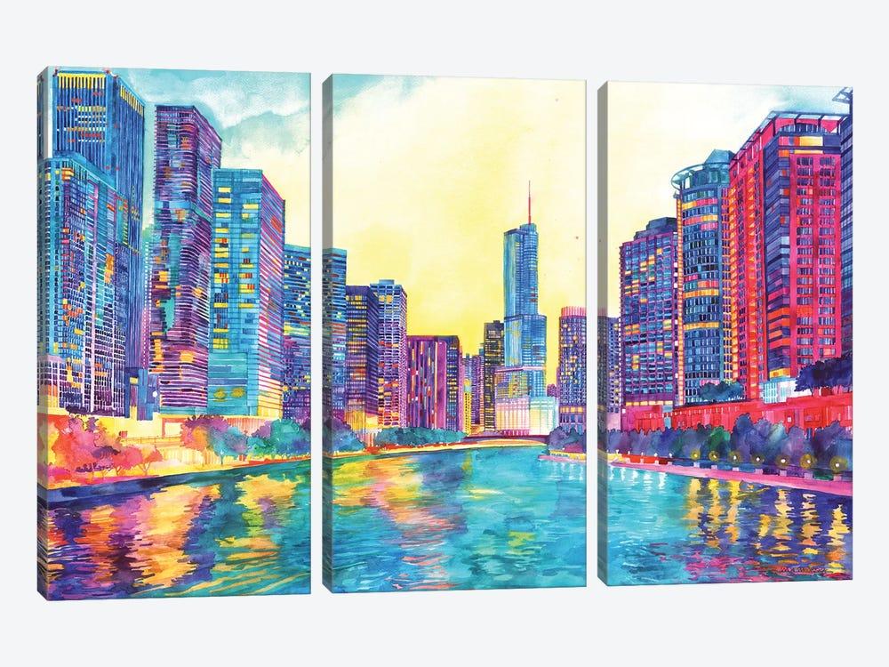 Chicago River by Maja Wronska 3-piece Canvas Artwork