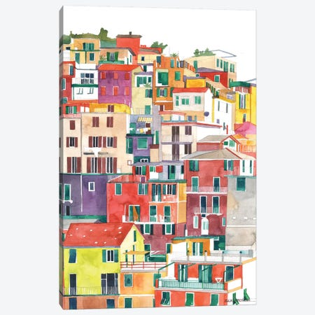 Cinque Terre I Canvas Print #MWR9} by Maja Wronska Canvas Art