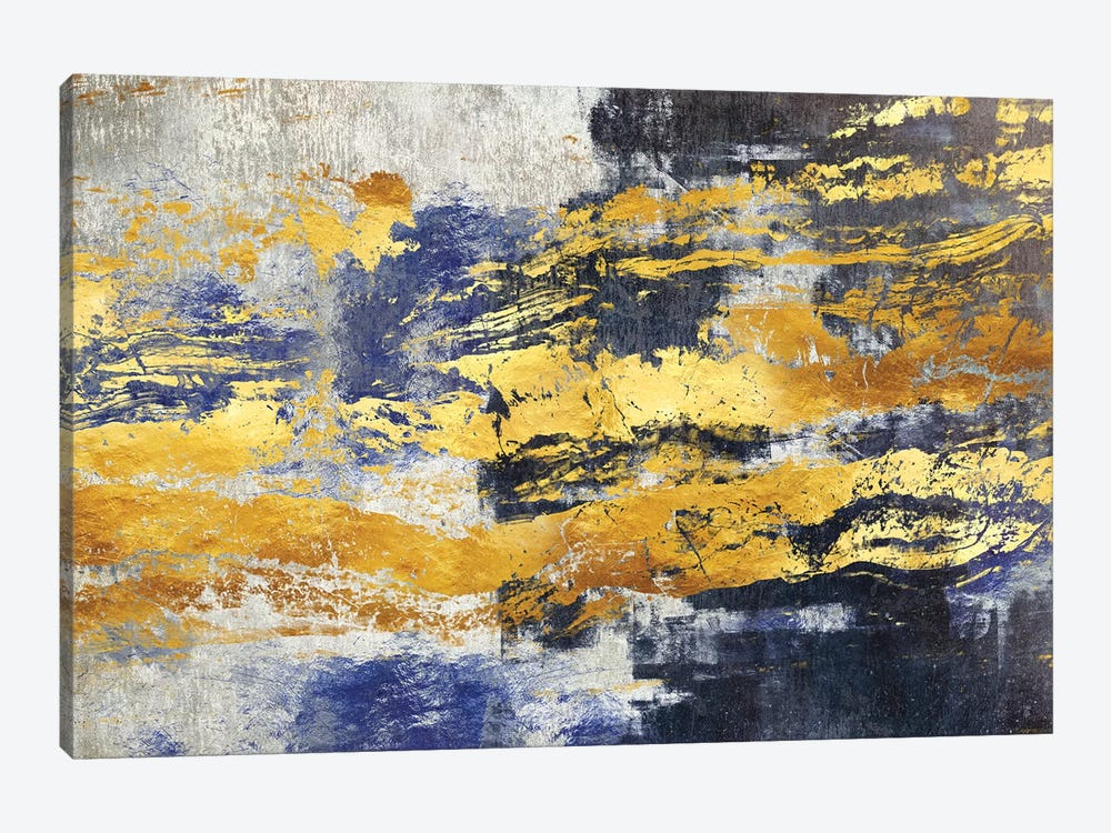 Gold And Blue by Maximiliano Casal 1-piece Canvas Art Print