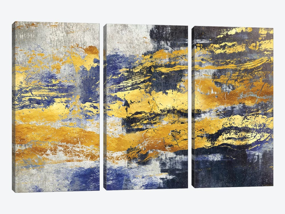 Gold And Blue by Maximiliano Casal 3-piece Canvas Art Print