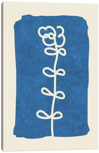 Sophisticated Lines On Blue I Canvas Art Print