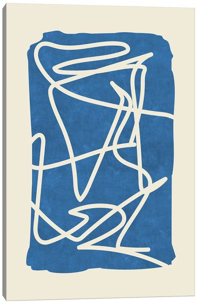 Sophisticated Lines On Blue II Canvas Art Print