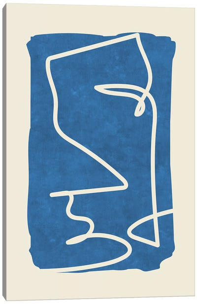 Sophisticated Lines On Blue III Canvas Art Print