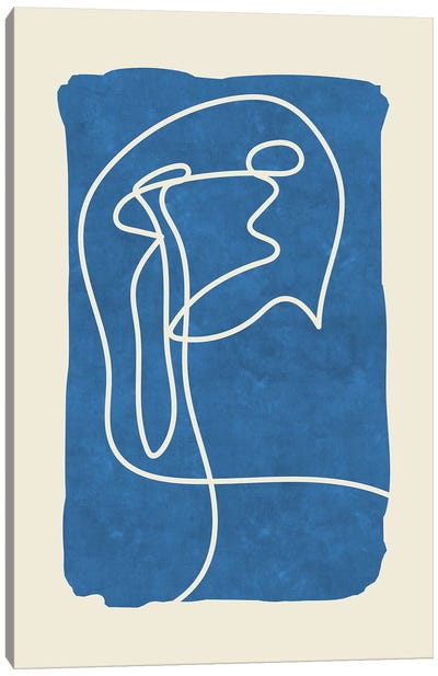 Sophisticated Lines On Blue IV Canvas Art Print