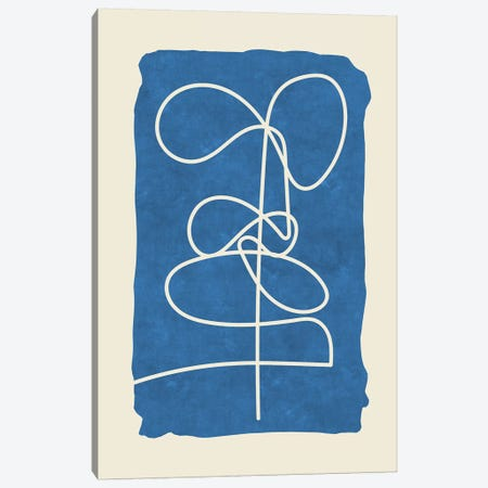 Sophisticated Lines On Blue V Canvas Print #MXC44} by Maximiliano Casal Canvas Wall Art