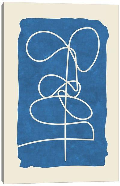 Sophisticated Lines On Blue V Canvas Art Print