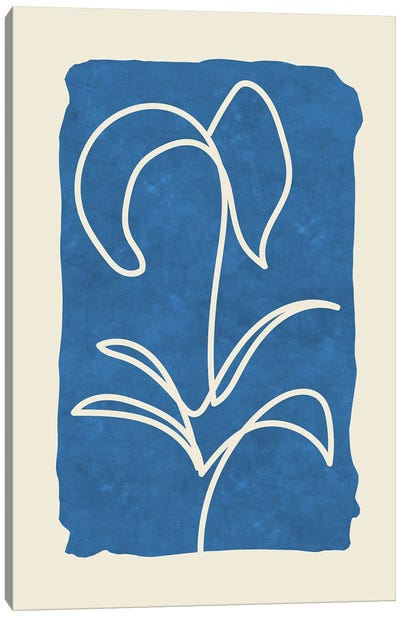 Sophisticated Lines On Blue VI Canvas Art Print