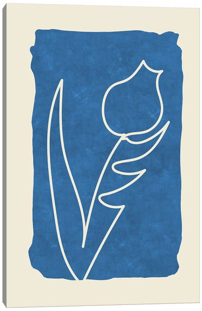 Sophisticated Lines On Blue VII Canvas Art Print
