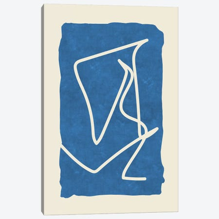 Sophisticated Lines On Blue Canvas Print #MXC48} by Maximiliano Casal Art Print