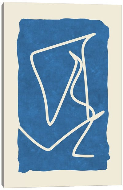 Sophisticated Lines On Blue Canvas Art Print