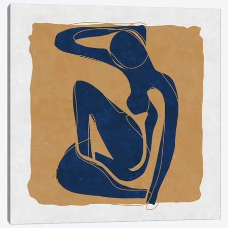Nude Blue Woman 3 3-Piece Canvas #MXC49} by Maximiliano Casal Art Print