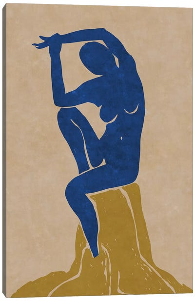 Nude Blue Woman 2 Canvas Art Print