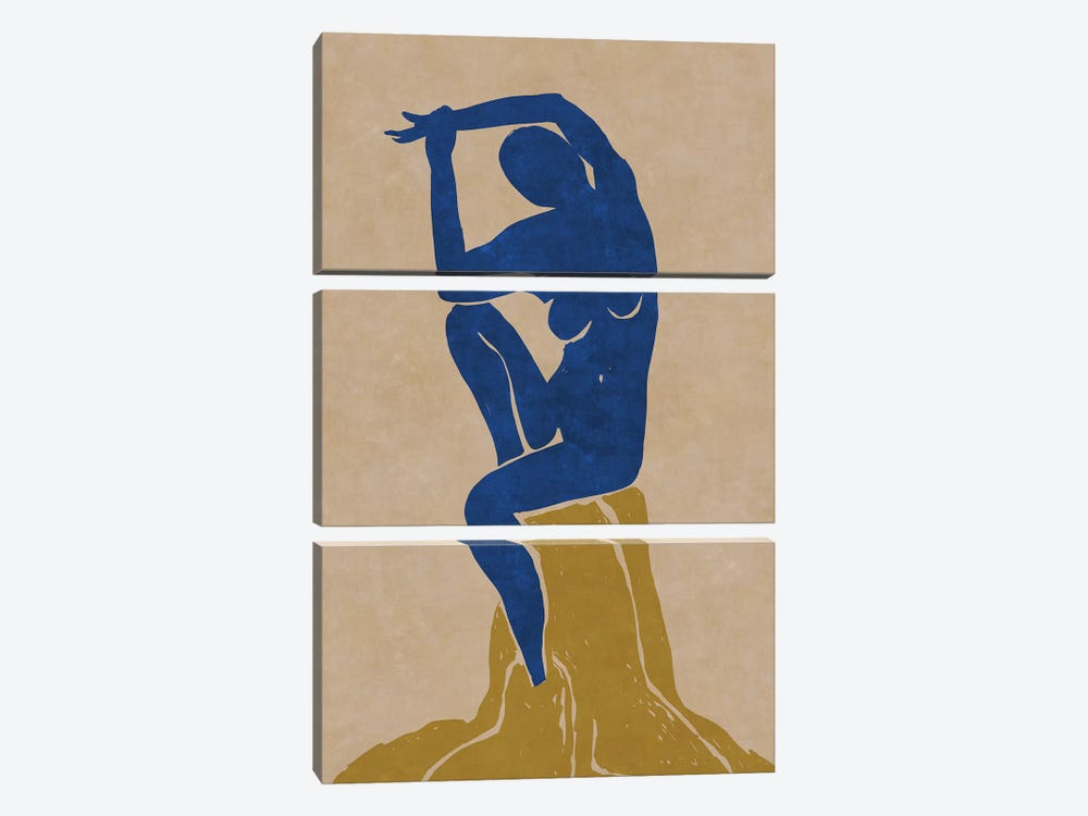 Nude Blue Woman 2 by Maximiliano Casal 3-piece Art Print