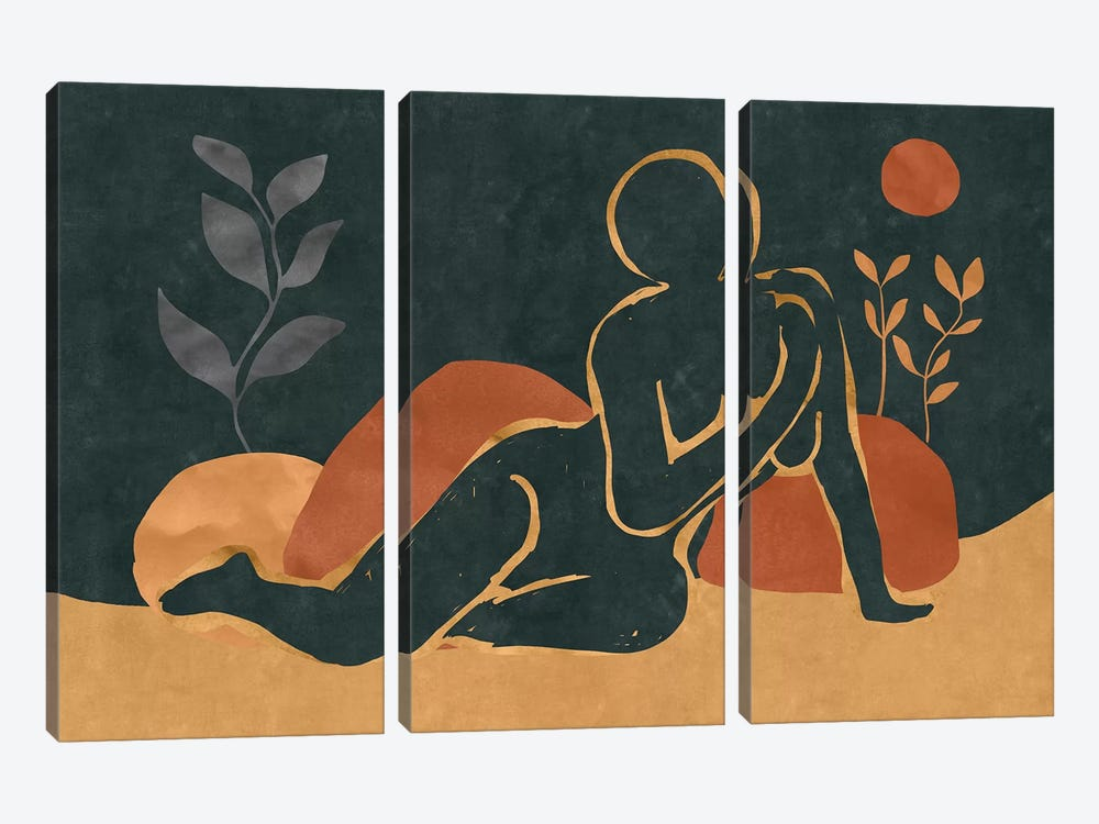 Woman Resting In The Nature I by Maximiliano Casal 3-piece Canvas Wall Art