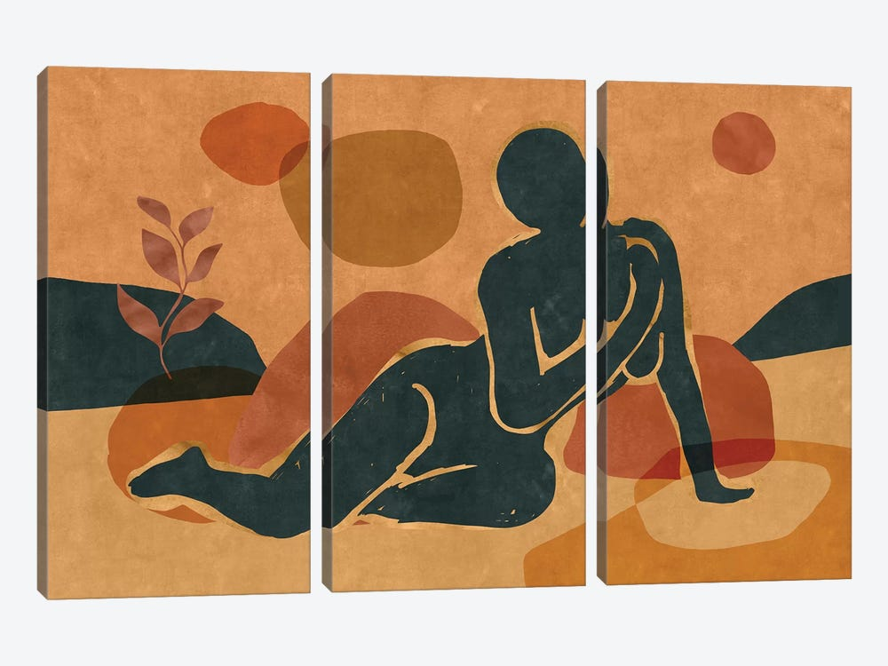 Woman Resting In The Nature II by Maximiliano Casal 3-piece Canvas Print