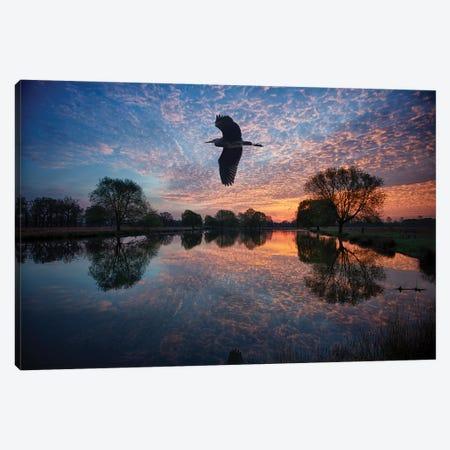 Heron Crossing Canvas Print #MXE26} by Max Ellis Canvas Artwork