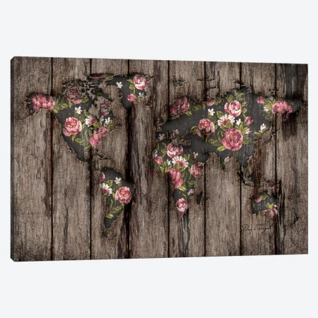 Wood Flowers Mapamundi Canvas Print #MXS102} by Diego Tirigall Canvas Artwork