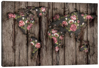 Wood Flowers Mapamundi Canvas Print #MXS102