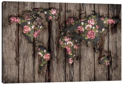 Wood Flowers Mapamundi Canvas Art Print