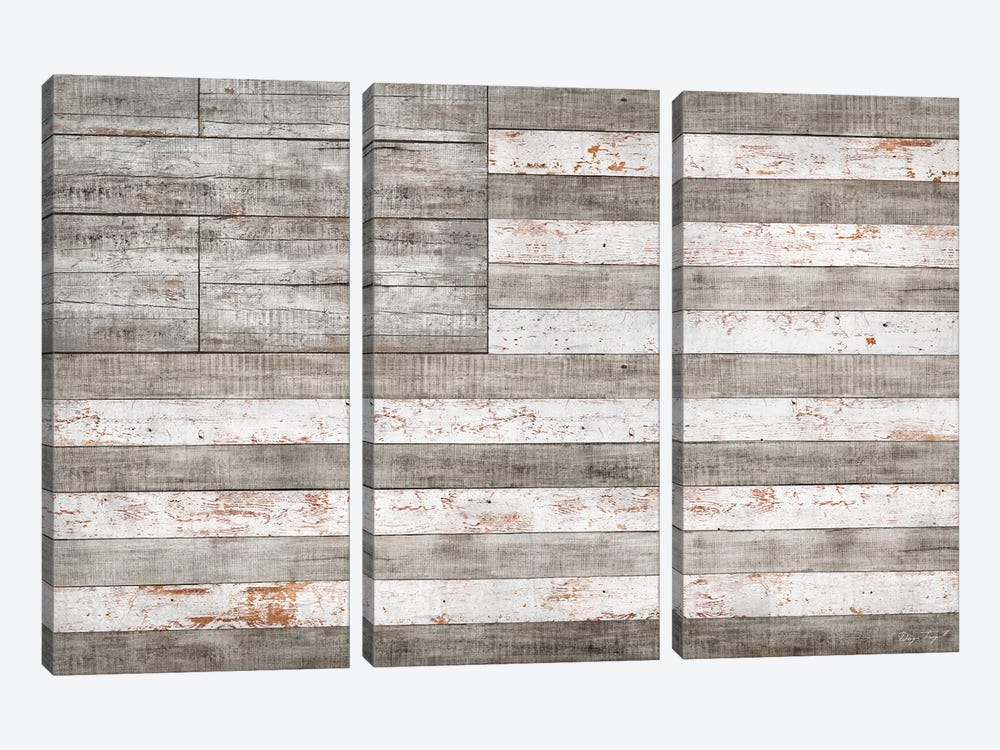 Stars & Stripes in White 3-piece Canvas Art