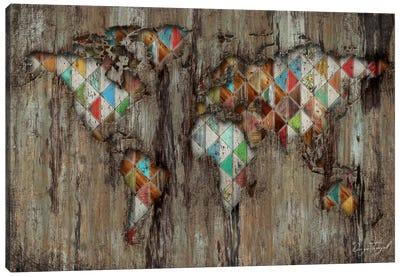 My Geometric World Map Canvas Print #MXS121