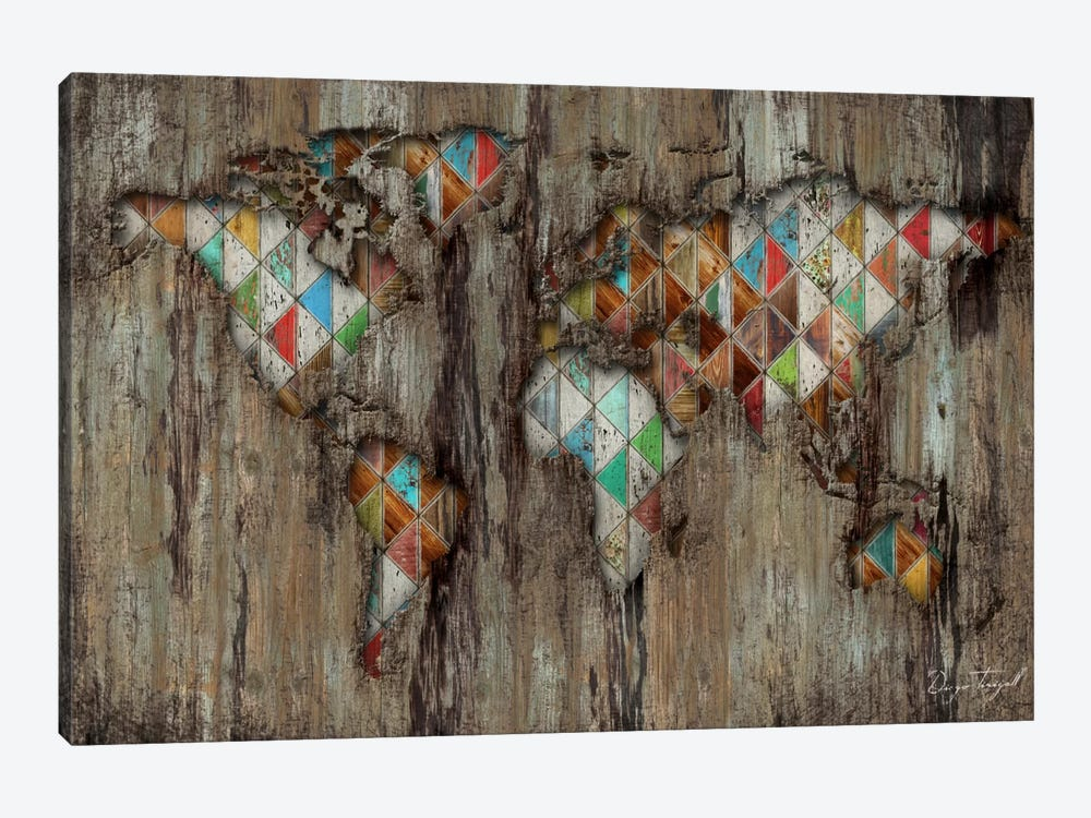 My Geometric World Map 1-piece Canvas Print
