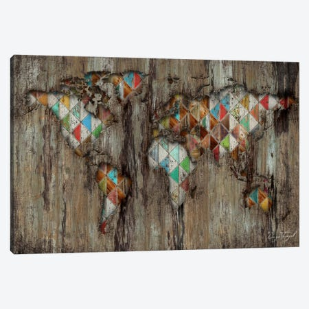My Geometric World Map Canvas Print #MXS121} by Diego Tirigall Canvas Art