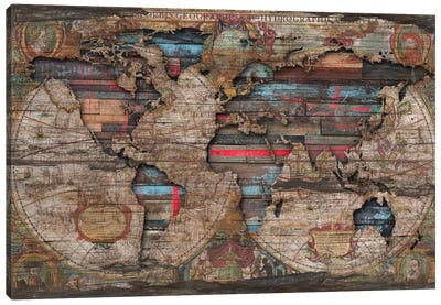 Distressed World Map Canvas Art Print