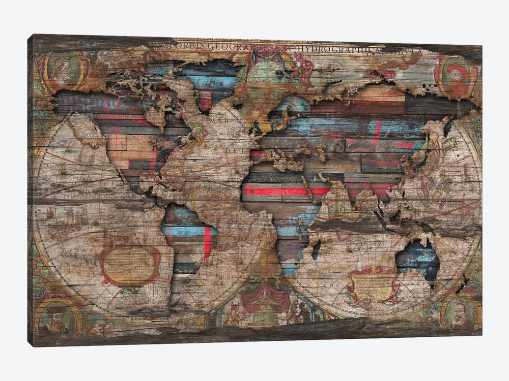 Distressed World Map Canvas Print By Diego Tirigall Icanvas