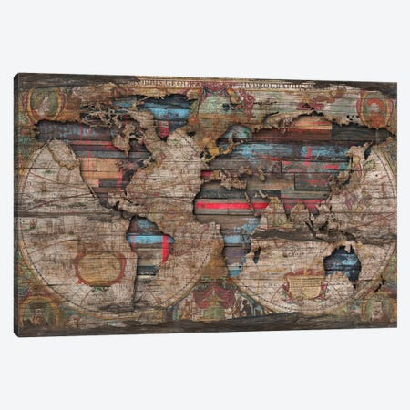 Distressed World Map Canvas Print #MXS125} by Diego Tirigall Canvas Art Print