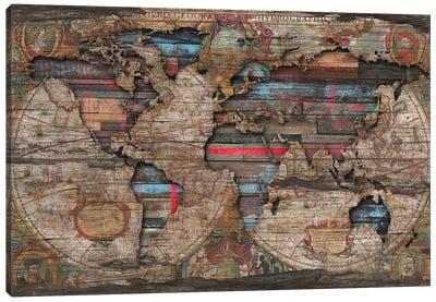 Distressed World Map Canvas Art Print