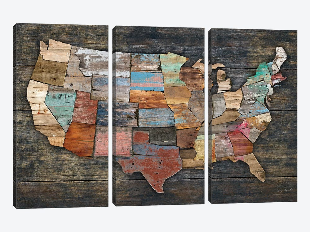 USA Map I by Diego Tirigall 3-piece Canvas Art
