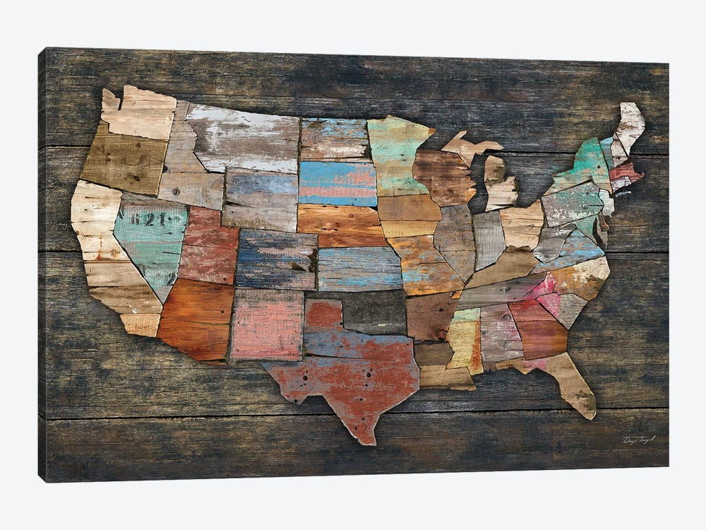 USA Map I by Diego Tirigall 1-piece Canvas Artwork