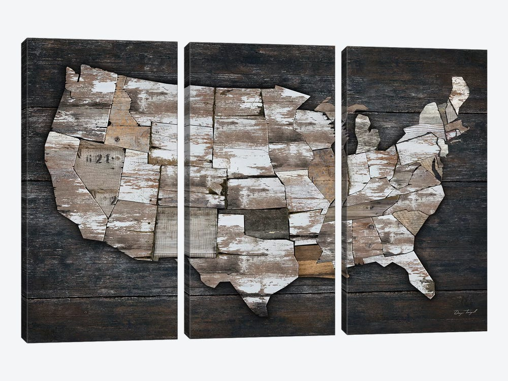USA Map II by Diego Tirigall 3-piece Canvas Art Print