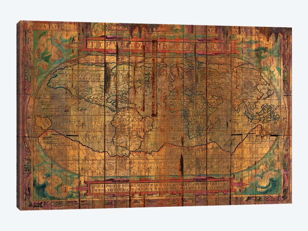 Distressed Old Map by Diego Tirigall 1-piece Canvas Print