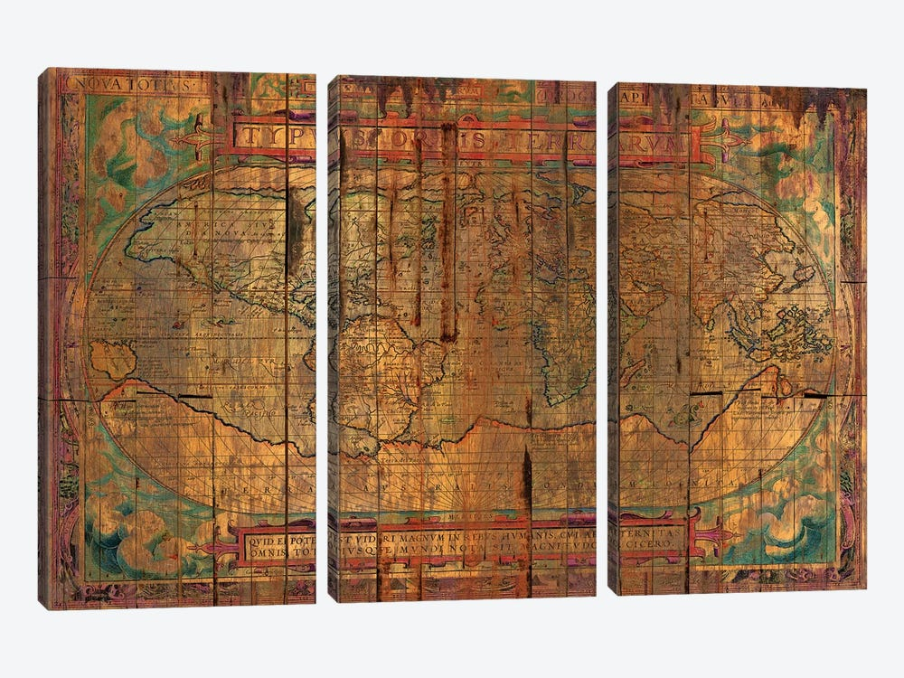 Distressed Old Map by Diego Tirigall 3-piece Art Print
