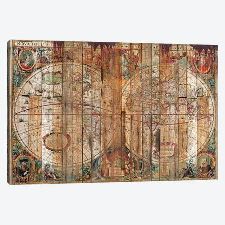 Reclaimed Wood Map Canvas Print #MXS148} by Diego Tirigall Canvas Artwork