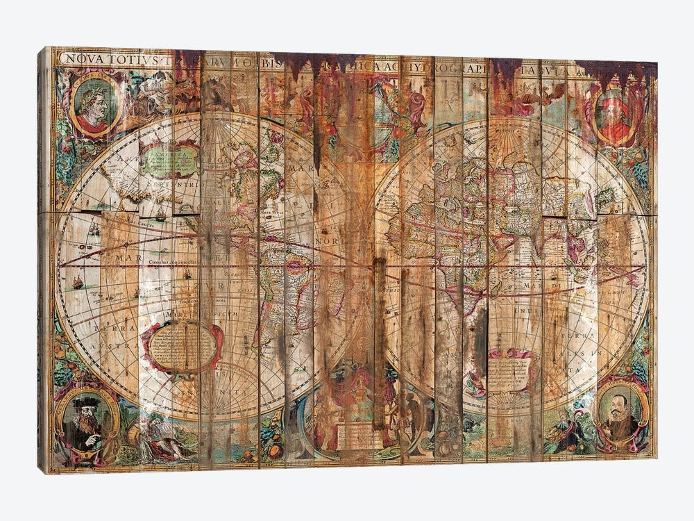 Reclaimed Wood Map by Diego Tirigall 1-piece Canvas Wall Art