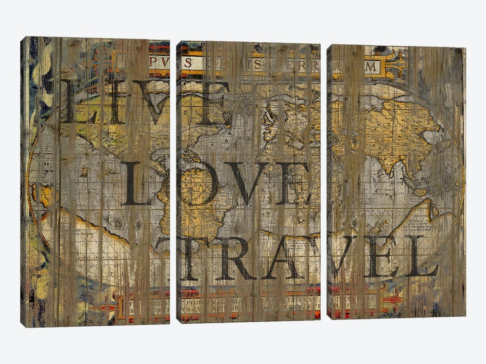 Live Love Travel by Diego Tirigall 3-piece Canvas Print