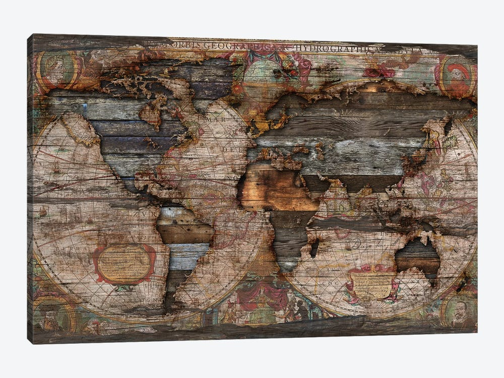 Reclaimed Map by Diego Tirigall 1-piece Canvas Print
