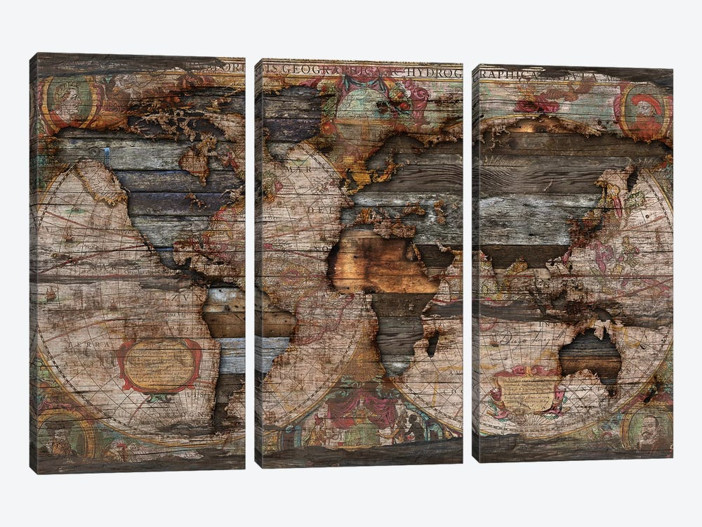 Reclaimed Map by Diego Tirigall 3-piece Art Print